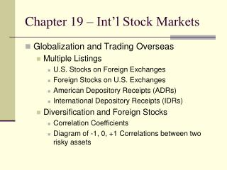 Chapter 19 – Int'l Stock Markets