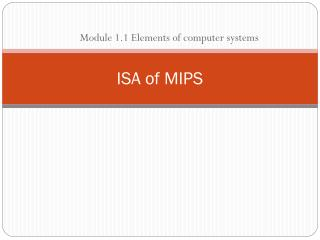 ISA of MIPS