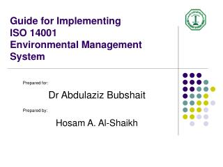 Guide for Implementing  ISO 14001 Environmental Management System