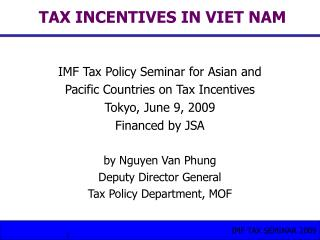 TAX INCENTIVES IN VIET NAM