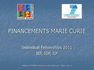 FINANCEMENTS MARIE CURIE