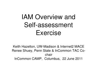 IAM Overview and  Self-assessment Exercise