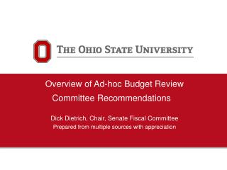 Overview of Ad-hoc Budget Review Committee Recommendations