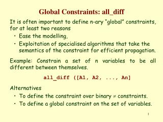 Global Constraints: all\_diff