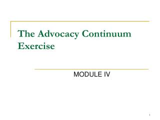 The Advocacy Continuum Exercise