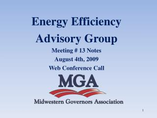Energy Efficiency  Advisory Group Meeting # 13 Notes August 4th, 2009 Web Conference Call