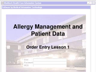 Allergy Management and Patient Data