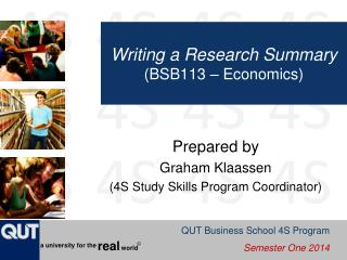 Writing a Research Summary (BSB113 – Economics)