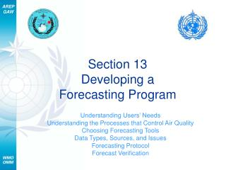 Section 13 Developing a  Forecasting Program