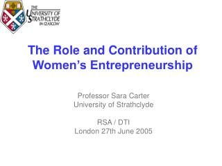 The Role and Contribution of Women's Entrepreneurship