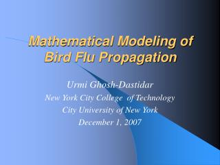 Mathematical Modeling of  Bird Flu Propagation