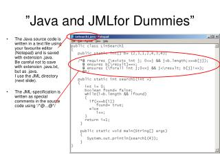 """Java and JMLfor Dummies"""