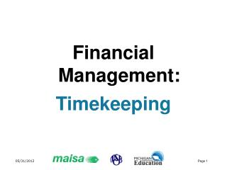 Financial Management: Timekeeping