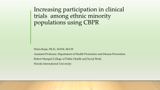 Increasing participation inclinical trials among ethnic minority populationsusingCBPR