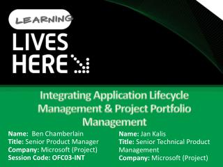 Integrating Application Lifecycle Management  Project Portfolio Management
