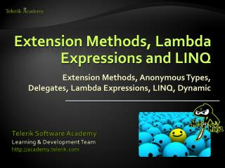 Extension Methods, Lambda Expressions and LINQ