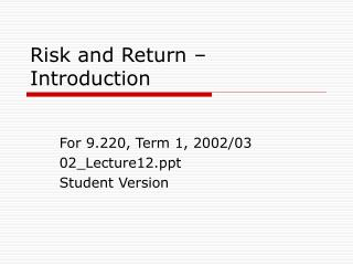 Risk and Return – Introduction