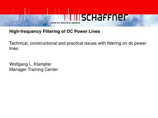High-frequency Filtering of DC Power Lines
