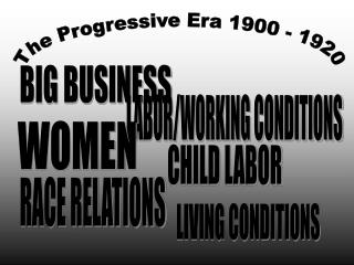 The Progressive Era 1900 - 1920