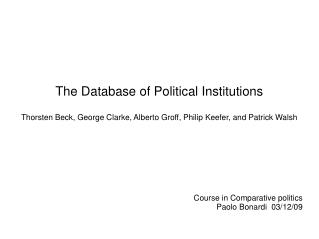 The Database of Political Institutions