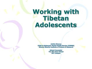 Working with Tibetan Adolescents