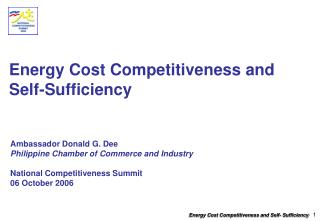 Energy Cost Competitiveness and  Self-Sufficiency