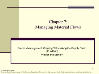 Chapter 7:  Managing Material Flows