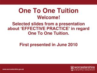 One To One Tuition Welcome!
