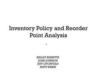 Inventory Policy and Reorder Point Analysis