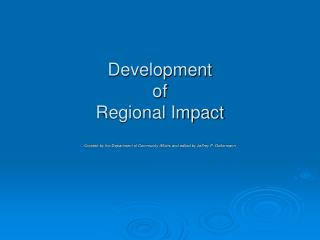 Development  of  Regional Impact