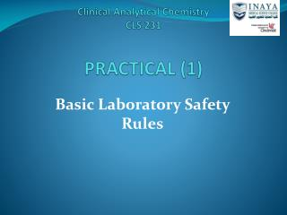 Clinical Analytical Chemistry CLS 231 PRACTICAL (1)