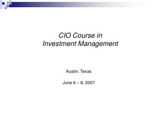 CIO Course in  Investment Management