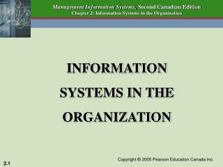 INFORMATION  SYSTEMS IN THE ORGANIZATION