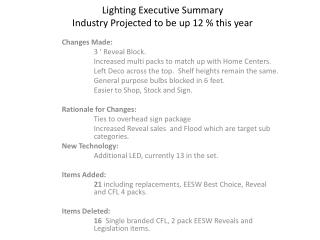 Lighting Executive Summary Industry Projected to be up 12 % this year