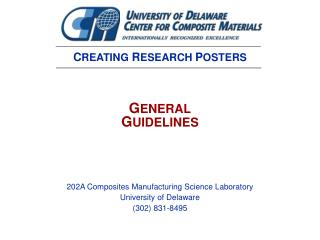 202A Composites Manufacturing Science Laboratory University of Delaware (302) 831-8495