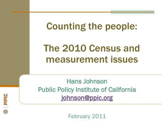 Counting the people: The 2010 Census and measurement issues
