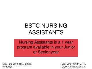 BSTC NURSING ASSISTANTS