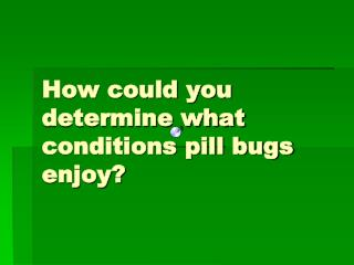 How could you determine what conditions pill bugs enjoy?