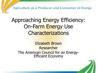 Approaching Energy Efficiency: On-Farm Energy Use Characterizations