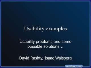Usability examples
