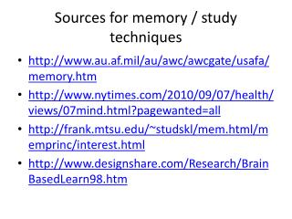 Sources for memory / study techniques