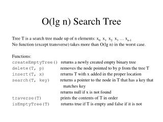 O(lg n) Search Tree