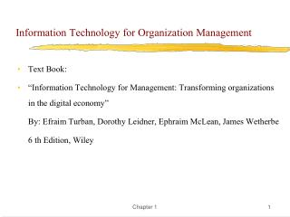 Information Technology for Organization Management