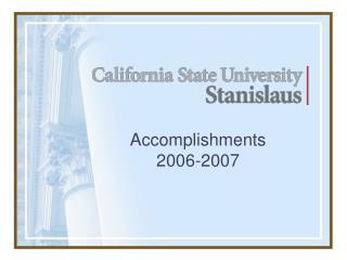 Accomplishments 2006-2007