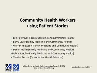 Community Health Workers  using Patient Stories