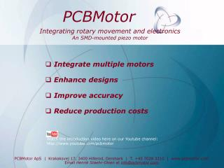 Integrating rotary movement and electronics An SMD-mounted piezo motor