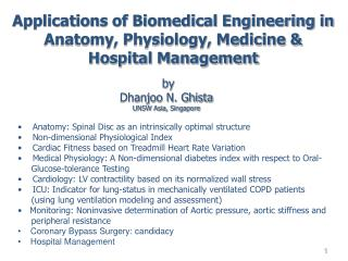 Applications of Biomedical Engineering in Anatomy, Physiology, Medicine & Hospital Management