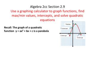 Recall: The graph of a quadratic function  y = ax 2  +  bx  + c is a parabola