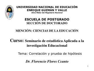 Tema: Correlación y prueba de hipótesis