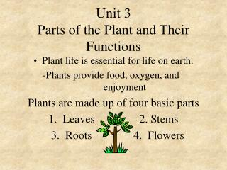 Unit 3 Parts of the Plant and Their Functions